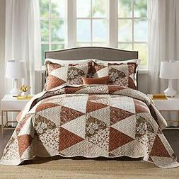 NEWLAKE Quilt Bedspread Sets-Triangle Floral Queen Triangle