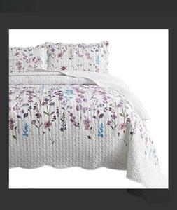 Bedsure Quilt Bedspreed Floral 90x96 Full/Queen 3 Piece Set