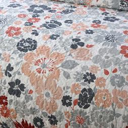 NEWLAKE Quilt Blossoms Pattern Reversible Patchwork Coverlet
