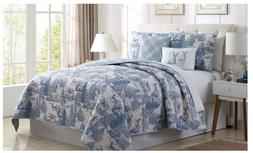 Quilt Comforter Set Reversible  Bedding Holiday Decor   Blue