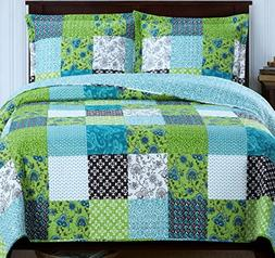 Quilt Coverlet Set Oversized Twin/XL Twin Size Rustic Countr