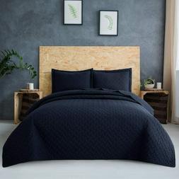 Quilt Set 3 Pc Microfiber Navy Basket Weave Pattern Soft Lig