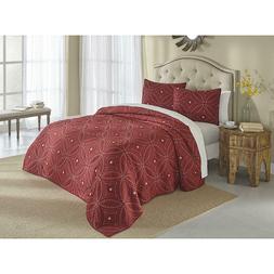 Quilt Set 3 Pc Soft Cotton Blend Demi Cranberry Red Circular