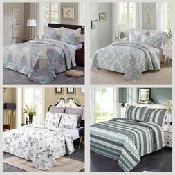Quilt Set 3 Pieces Brushed Microfiber Printed  Bedspread Cov