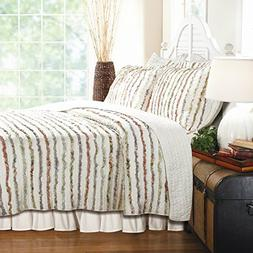 Greenland Home 3 Piece Quilt Set with Floral Ruffles on Sale