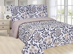 6 PC Quilt Set With Fitted Sheet Pillow Case Sham Reversible