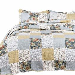 Quilt Set Bedroom Bedspread Plaid Floral Patchwork Full/Quee