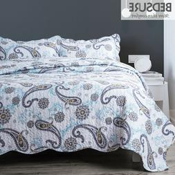 Bedsure Quilt Set Coverlet Paisley Blue Pattern Pillowcase