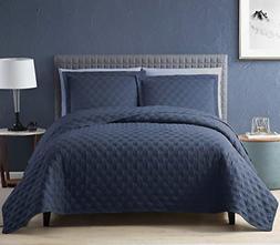 EXQ Home Quilt Set Full Queen Size Navy 3 Piece,Lightweight