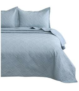 Bedsure Quilt Set Gray/Blue King Size  - Floral Pattern