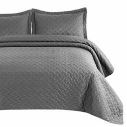 Bedsure Quilt Set Grey King Size  - Basket Weave Pattern Bed