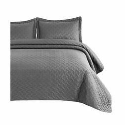 Bedsure Quilt Set Grey King Size  - Basketweave Pattern Beds