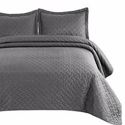 Bedsure Quilt Set Grey King Size  - Basket weave P King