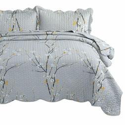 Bedsure Quilt Set Grey King Size Plum Blossom  Bedspread, Li