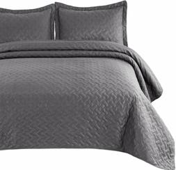 Bedsure Quilt Set Grey Twin Size  - Basket Weave Pattern Bed
