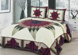 Quilt Set King Queen Cabin Star Traditional Patchwork Bars R