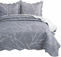 Bedsure Quilt Set King Size - Tree Branch Floral Pattern - L