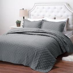 Bedsure Reversible Quilt Set Solid Grey Diamond Pattern Soft