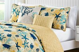 Quilt Set Nautical Coastal Marine Life Theme Blue Yellow 5 P