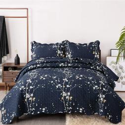 Bedsure Quilt Set Navy Full / Queen Size Plum Blossom 90 x 9