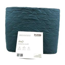 Bedsure Quilt Set Navy Queen Size - Basket Weave Pattern Mic