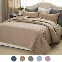 "Bedsure Tan Quilt Set-King Size Bedspread 106""x96"" -3 Pieces"