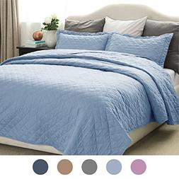 Bedsure Quilt Set Solid Carolina Blue Twin Size 2 Piece Cove