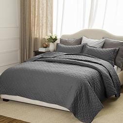 Quilt Set Solid Grey King Basketweave Pattern Lightweight Hy