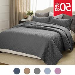 Quilt Set Solid Grey King Basketweave Pattern Lightweight Hy
