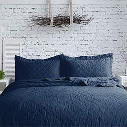 Bedsure 3-Piece Bedding Quilt Set Navy Blue Full/Queen Size