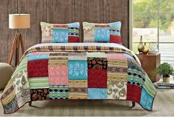 Quilt Set Twin Comforter Bedding Cover Patchwork Bed Pillow