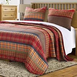 Finely Stitched Quilt Set with Sham Print Stripe Plaid Patte