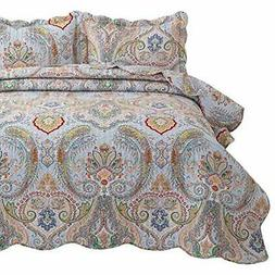Quilt Sets Bedsure 3-Piece Bohemia Paisley Pattern Quilted B