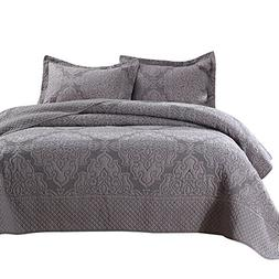 NEWLAKE Quilt and Sham Patchwork Bedspread Set with Real Sti