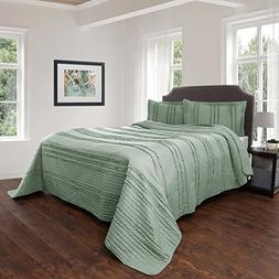 Bedford Home Quilt and Sham Set- Hypoallergenic 3 Piece Over
