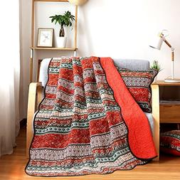 NEWLAKE Quilt Throw Blanket with Classical Floral Patchwork,