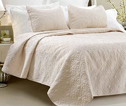 Multiple Sizes - Oversized-3pc Quilted Coverlet Set- Ivory-Q