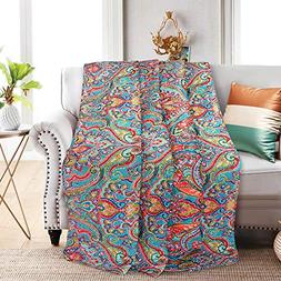 NEWLAKE Quilted Throw Blanket for Bed Couch Sofa, European G