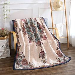 NEWLAKE Quilted Throw Blanket for Bed Couch Sofa, Antique Ro