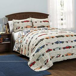 Lush Decor Race Cars 3 Piece Reversible Quilt Bedding Set, F