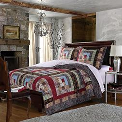 AD 3 Piece Red Blue Patchwork Full Queen Size Quilt Set,Grey