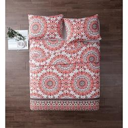 2 Piece Red White Gray Medallion Floral Quilt Twin Xl Set, B