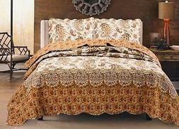 Renaissance Paisley 100% Cotton Quilt set,Bedspread, Coverle