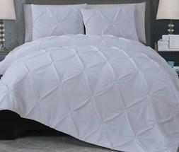 Reversible 7 Piece Quilt Set Pinch Pleated Polyester Microfi