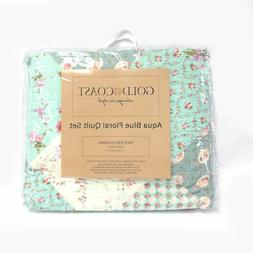 Gold Coast Reversible Aqua Blue Floral Quilt 2 Piece Set - T