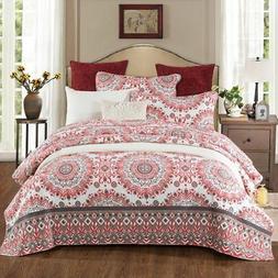 NEWLAKE Reversible Bedspread Quilt Set, Red Kaleidoscope Pat