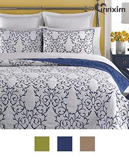 mixinni Reversible 100% Cotton 3-Piece Royal Blue Embroidery