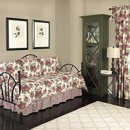 Reversible Daybed Quilt Set Feminine Floral Print Red Colors