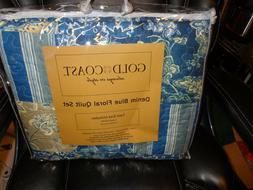 reversible denim blue floral quilt 2 piece