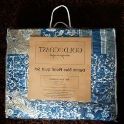 Gold Coast Reversible Denim Blue Floral Quilt 3 Piece Set -